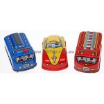 3 Wind Up Tin Toy  Cars Taxi Police