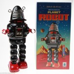 RED  ROBIE  ROBOT TIN TOY WINDUP ROBOT SPARKS IN HELMET & WALKS HAHA TOY