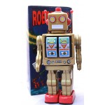 MACHINE GUN GOLD CLASSIC RETRO TIN TOY ROBOT FIRES GUNS WALKS AND SPINS