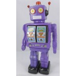 MACHINE GUN PURPLE TIN TOY BAT. ROBOT FIRES GUNS WALKS SPINS DADS CHRISTMAS GIFT