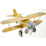 Yellow Curtiss Bi-Plane Wind Up Tin Toy