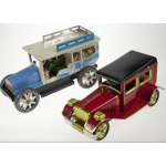 2x Tin Toy Classic Cars Wind Up