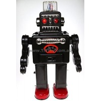 CLASSIC BATTERY POWERED RETRO TIN TOY SMOKING ROBOT SPACEMAN WALKS & LIGHTS UP