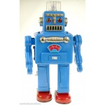 ROBOT BLUE SMOKING 50's /60' RETRO REPRO COLLECTORs TIN TOY ROBOT RARE COLOUR