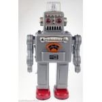ROBOT SILVER SMOKING 50's /60' RETRO REPRO COLLECTORs TIN TOY ROBOT RARE COLOUR