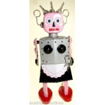 ROXY PINK TIN TOY WIND-UP EVIL GIRL ROBOT WITH DRESS & KNIFE