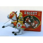 TIN TOY KNIGHT ON HORSE CLOCKWORK ACTION COLLECTORS TOY RETRO VINTAGE STYLE