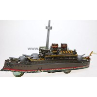 CLOCKWORK POWERED WARSHIP BOAT TIN TOY IN GIFT BOX